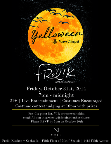Yelloween, Presented by Veuve Clicquot & Frolik Kitchen + Cocktails